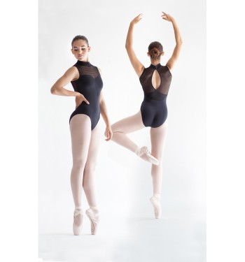 Maillot ballet cuello semicisne microtul rayado