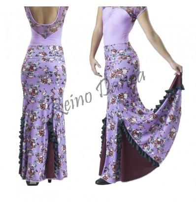 Falda flamenca estampada con volantes en godés