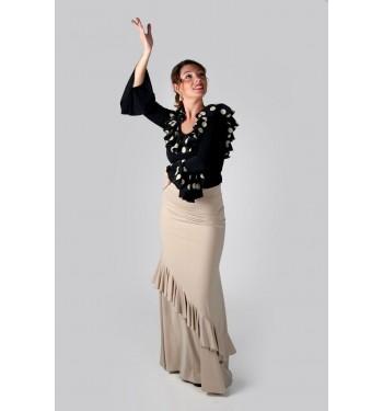 Falda flamenco ensayo volante oblicuo