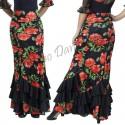 Falda flamenca con volantes oblicuos