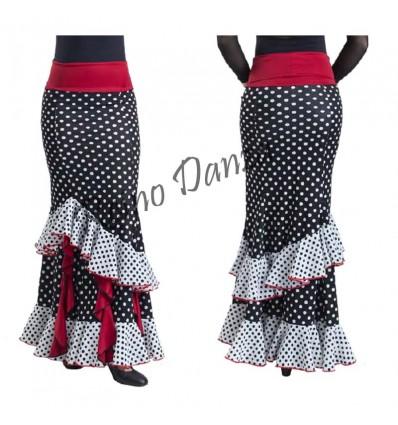 Falda flamenca con volantes verticales