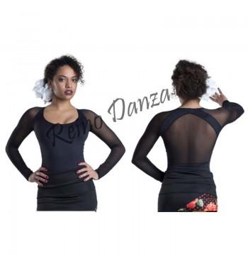 Maillot flamenco licra y tul transparente
