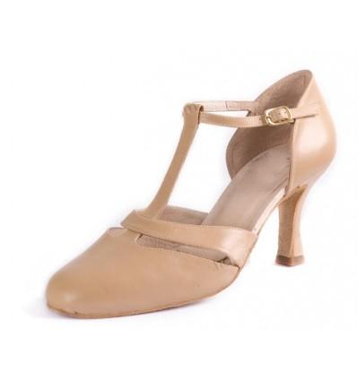 Zapato de baile de Salón en piel con tira delante.