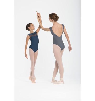 Maillot de ballet sin mangas, escote en espalda.