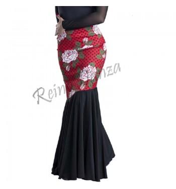 Falda flamenca corte oblicuo cinturilla ancha
