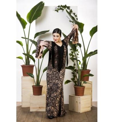 Vestido flamenco Alosno con flecos.
