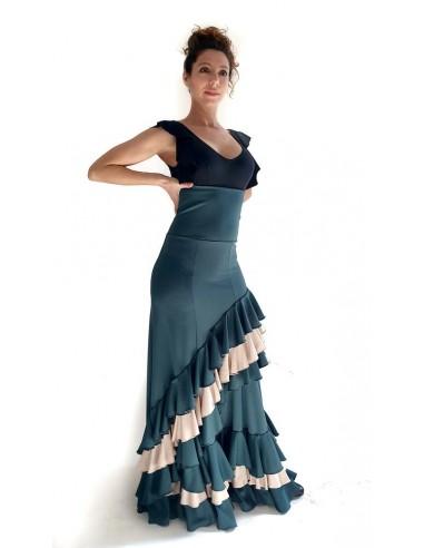 Falda flamenco tres volantes ascendentes