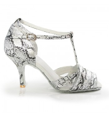 Sandalia piel de serpiente plata