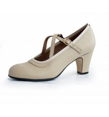 Zapato flamenco Cordobesa piel 2 heb cruzadas